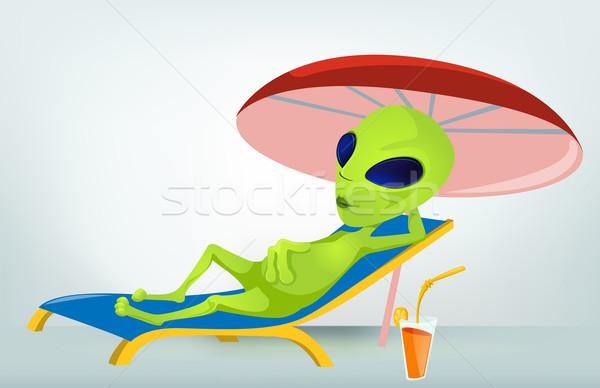 Vicces idegen rajzfilmfigura nyár űr zöld Stock fotó © RAStudio