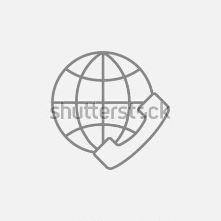 Global internet shopping thin line icon Stock photo © RAStudio