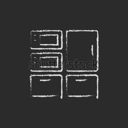 Isometric 3d printer drawn in chalk Stock photo © RAStudio