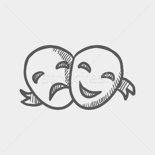 Two mask sketch icon Stock photo © RAStudio