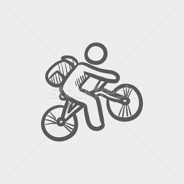 Mountainbike schets icon web mobiele Stockfoto © RAStudio