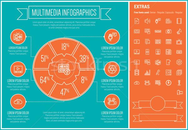 Multimedia Line Design Infographic Template Stock photo © RAStudio