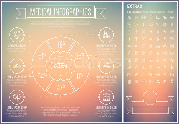 Medical Line Design Infographic Template Stock photo © RAStudio