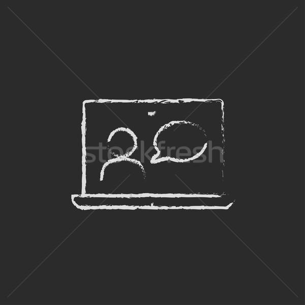 Video chat online icon drawn in chalk. Stock photo © RAStudio