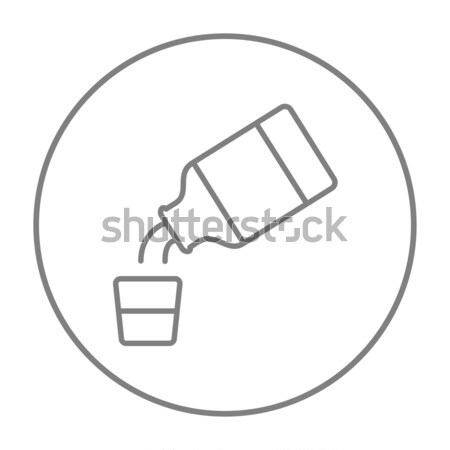Stock photo: Medicine and measuring cup line icon.