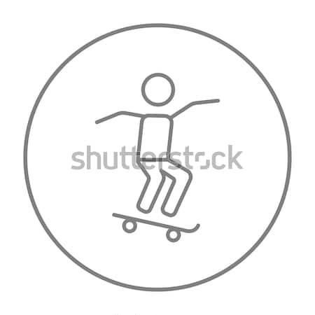 Férfi lovaglás gördeszka vonal ikon háló Stock fotó © RAStudio