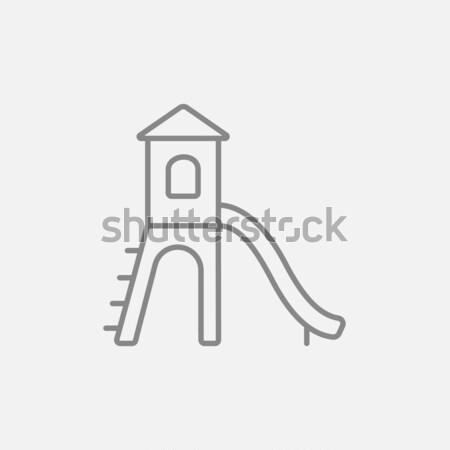 площадка слайдов линия икона веб мобильных Сток-фото © RAStudio