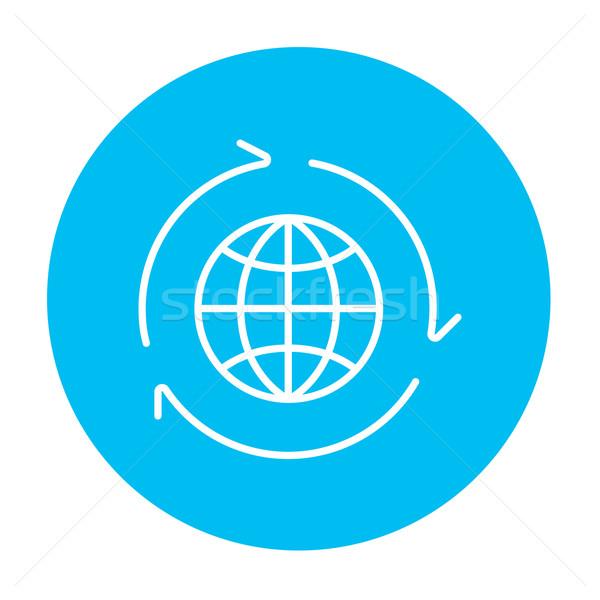 Globe with arrows line icon. Stock photo © RAStudio