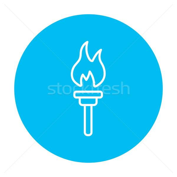 égő zseblámpa vonal ikon háló mobil Stock fotó © RAStudio