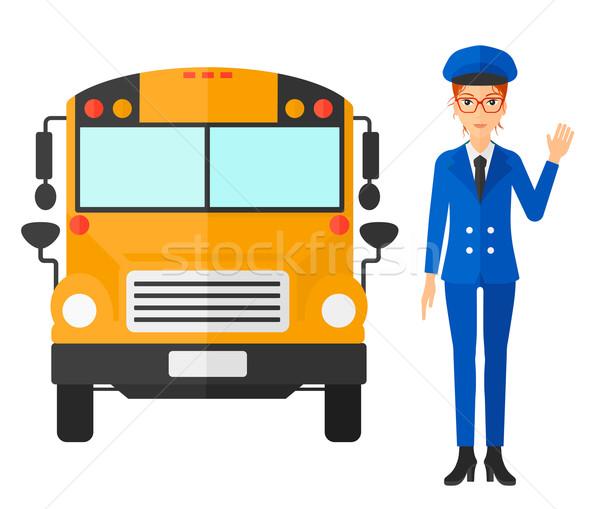Bus scolaire pilote permanent vecteur design illustration Photo stock © RAStudio