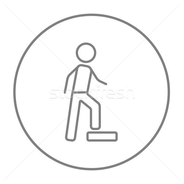 Man doing step exercise line icon. Stock photo © RAStudio