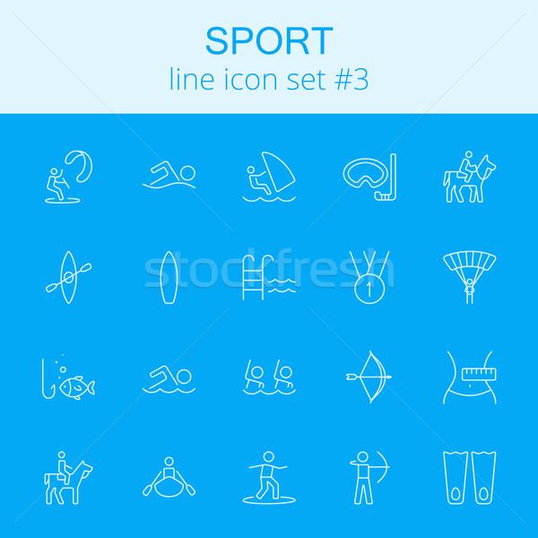 Sport vector lichtblauw icon geïsoleerd Stockfoto © RAStudio
