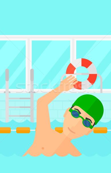 Pływak szkolenia basen człowiek cap Zdjęcia stock © RAStudio