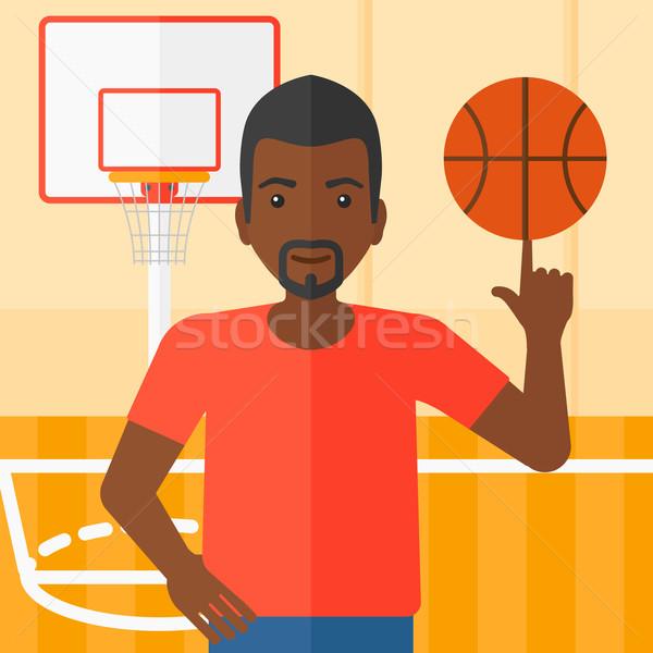 Bola homem basquetebol dedo quadra de basquete Foto stock © RAStudio
