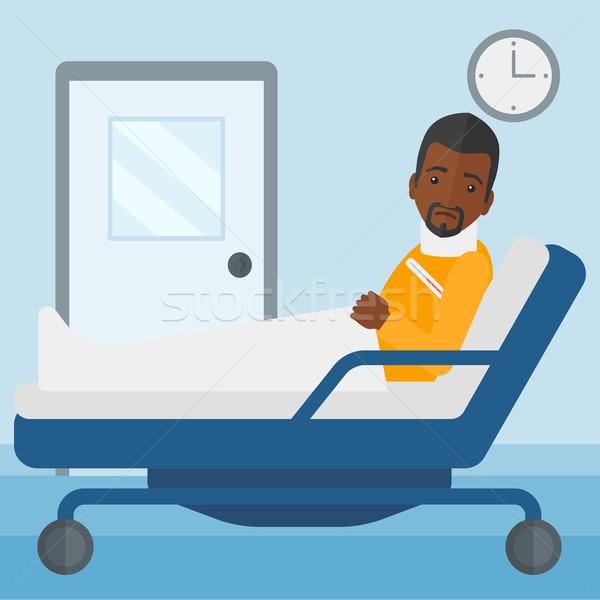 Paciente ferido pescoço homem cama hospital Foto stock © RAStudio