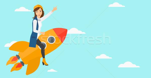 Iş başlatmak yukarı kadın uçan roket Stok fotoğraf © RAStudio