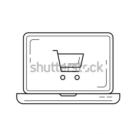 Stock fotó: Online · vásárlás · vonal · ikon · laptop · bevásárlókocsi · képernyő