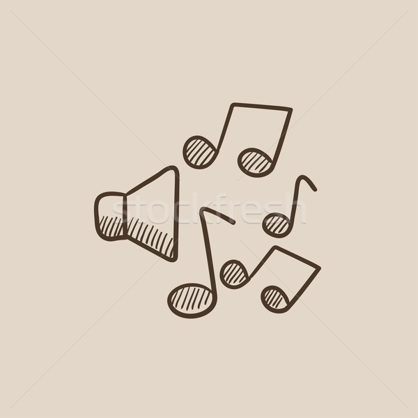 Stock photo: Loudspeakers with music notes sketch icon.