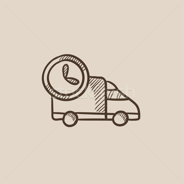 Camion de livraison croquis icône web mobiles infographie Photo stock © RAStudio