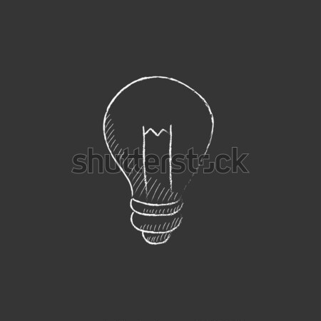 Lightbulb. Drawn in chalk icon. Stock photo © RAStudio
