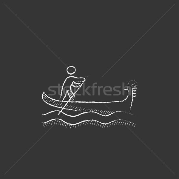 Denizci kürek çekme tekne tebeşir ikon Stok fotoğraf © RAStudio