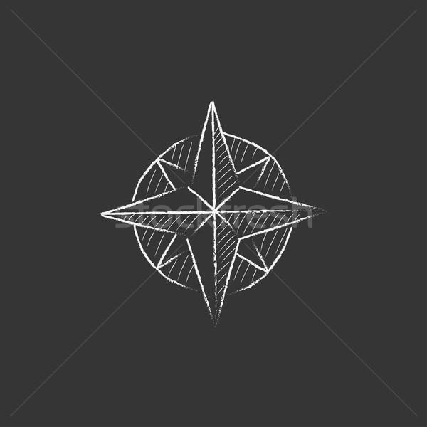 Compass wind rose. Drawn in chalk icon. Stock photo © RAStudio