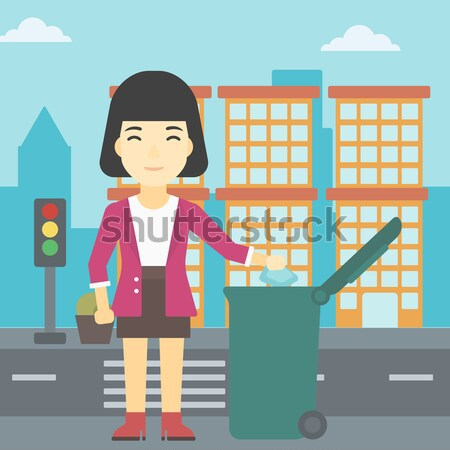 женщину мусор зеленый город Сток-фото © RAStudio
