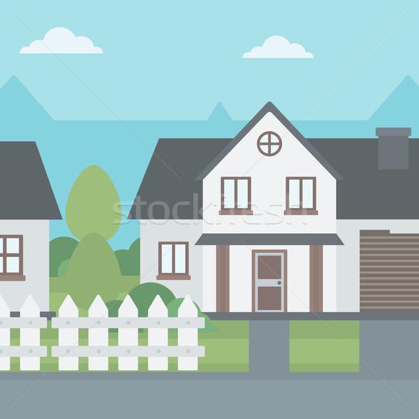 Suburban casă gard vector proiect ilustrare Imagine de stoc © RAStudio