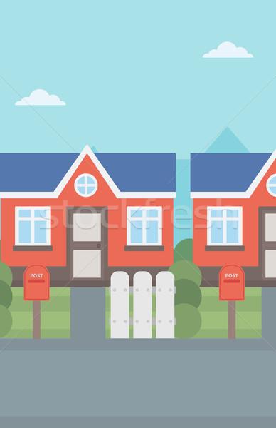 Suburbano casa casas vector diseno ilustración Foto stock © RAStudio