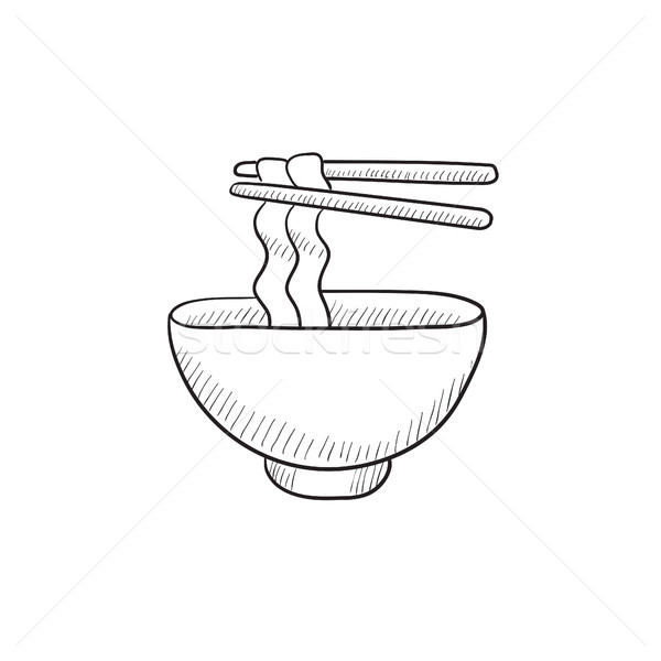 Bowl of noodles with pair chopsticks sketch icon. Stock photo © RAStudio