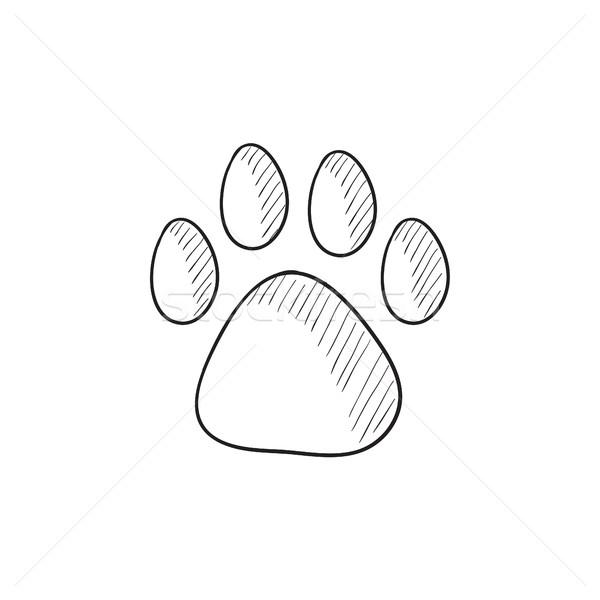 Poot print schets icon vector geïsoleerd Stockfoto © RAStudio