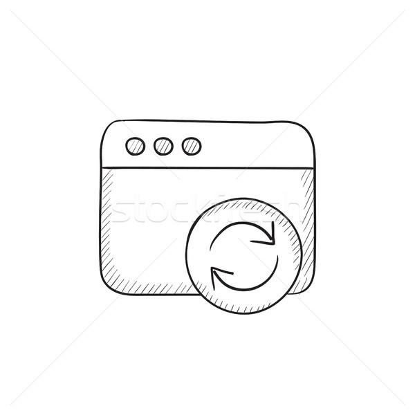 Böngésző ablak frissít felirat rajz ikon Stock fotó © RAStudio