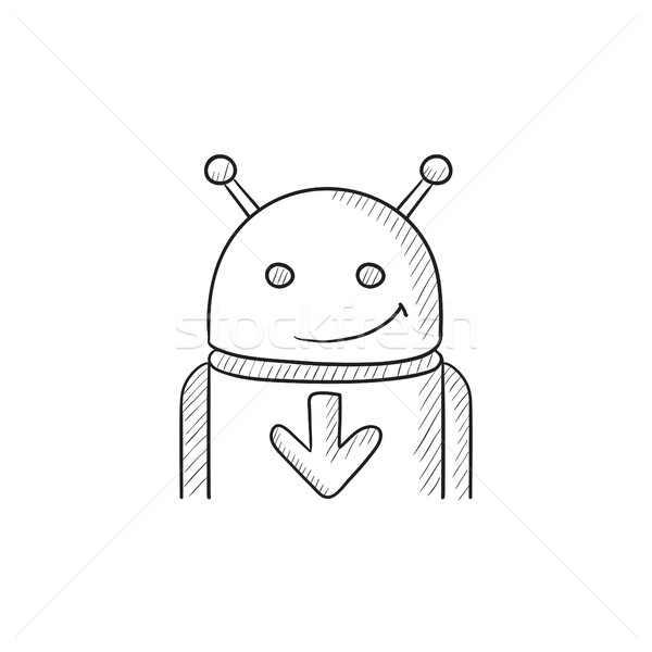 Android pijl beneden schets icon vector Stockfoto © RAStudio