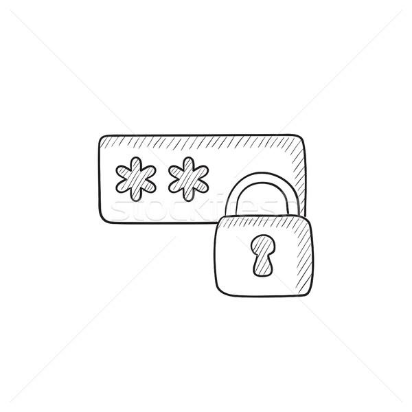 Kennwort geschützt Skizze Symbol Vektor isoliert Stock foto © RAStudio