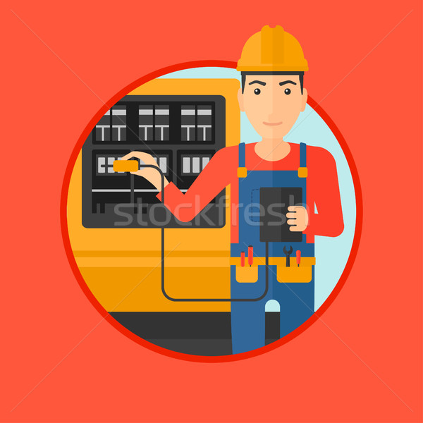 Stock photo: Electrician with electrical equipment.