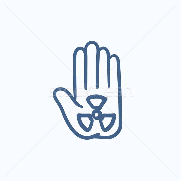 Promieniowanie podpisania dłoni szkic ikona wektora Zdjęcia stock © RAStudio