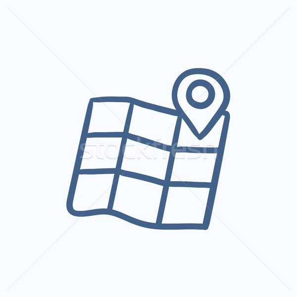 Map with pointer sketch icon. Stock photo © RAStudio