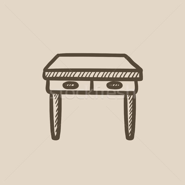 Asztal fiókok rajz ikon vektor izolált Stock fotó © RAStudio