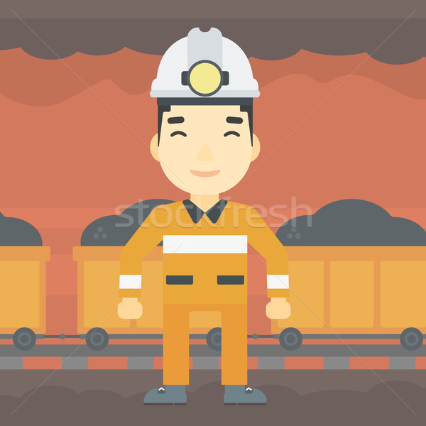 Confident miner in hardhat vector illustration. Stock photo © RAStudio