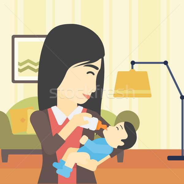Stock photo: Mother feeding baby vector illustration.