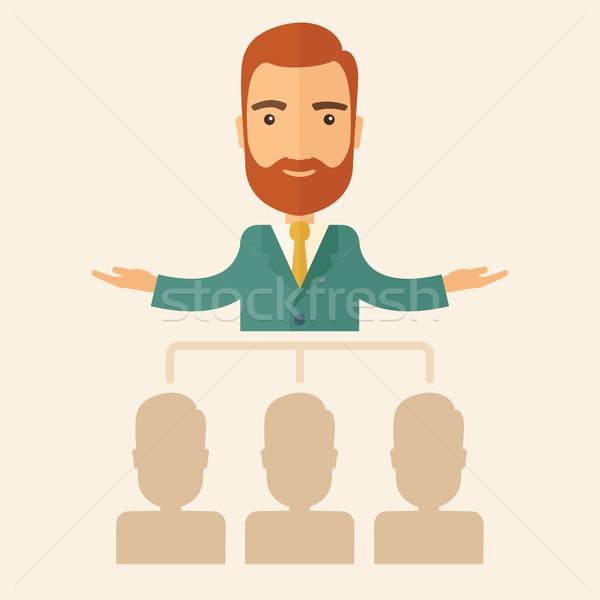 Igazgató magyaráz üzlet tervek alkalmazottak jól kinéző Stock fotó © RAStudio