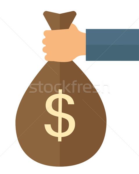 Pénz táska kéz tart dollárjel terv Stock fotó © RAStudio