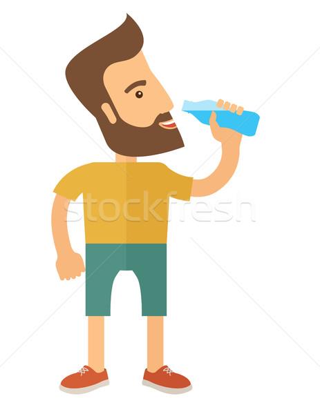 Cavalheiro beber garrafa saudável Foto stock © RAStudio