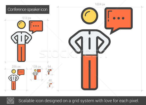 Conference speaker line icon. Stock photo © RAStudio