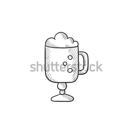 Szkła kubek piana szkic ikona wektora Zdjęcia stock © RAStudio