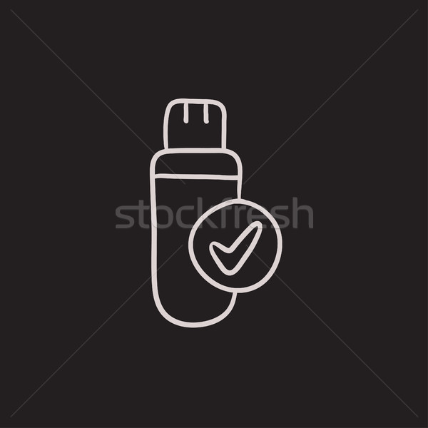 Stock fotó: Usb · flash · drive · rajz · ikon · vektor · izolált