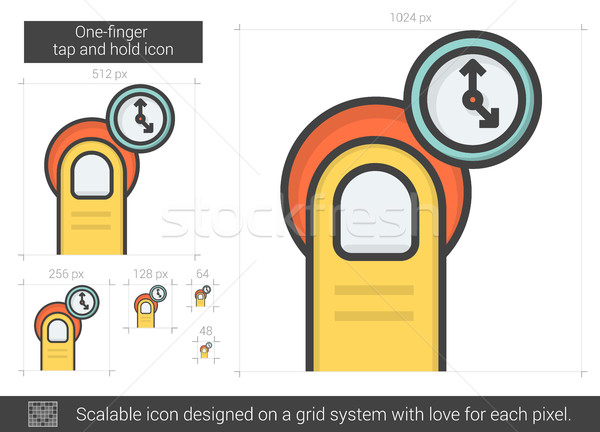 One-finger tap and hold line icon. Stock photo © RAStudio