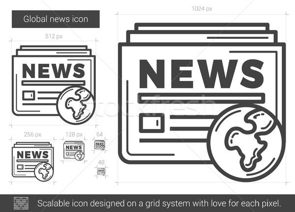 Foto stock: Global · notícia · linha · ícone · vetor · isolado
