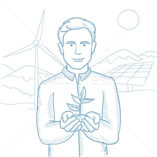 Man holding plant vector sketch illustration. Stock photo © RAStudio