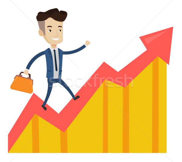 Boldog üzletember fut nyereség diagram kaukázusi Stock fotó © RAStudio